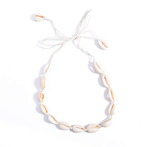 - AOASK Natural Shell Choker,Handmade Hawaii Beach Cowrie Shell Necklace for Women Girls,White Velvet Rope Knotted Choker (Beige Rope)