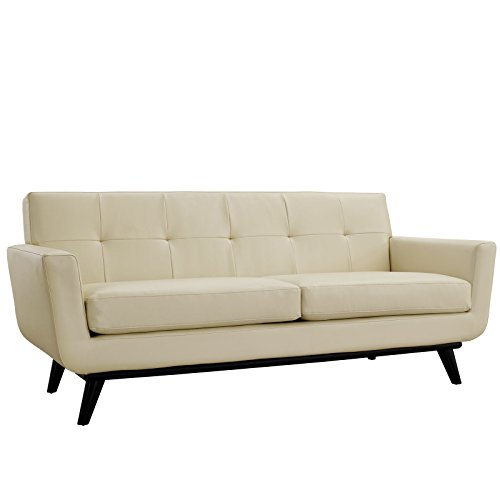 Modway Engage Mid-Century Modern Upholstered Leather Loveseat In (Cherry Leather Loveseat)