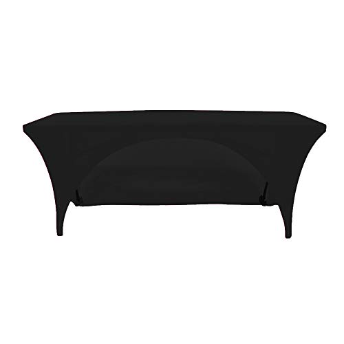 Your Chair Covers - Stretch Spandex 8 Ft Open Back Rectangular Table Cover Black, 96 Length x 30 Width x 30 Height Fitted Tablecloth for Standard Folding Tables