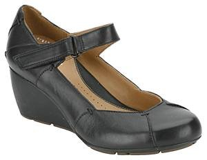 Ladies Clarks Shoes - Womens Clarks Faun Layer Black Leather Wedge Shoes  Size 8 5830d7b69f