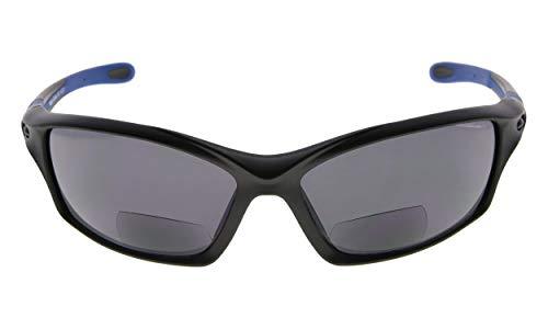(Eyekepper TR90 Frame Bifocal Sports Sunglasses Baseball Running Fishing Driving Golf Softball Hiking Readers (Black Frame Blue Temple, 2.50))