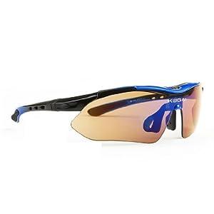 UV400 スポーツサングラス 紫外線カット 防弾 レンズ5枚フルセット