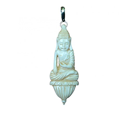 - Buddha Pendant Jewelry with Soul Carved Recycled Buffalo Bone 925 Sterling Silver Bail