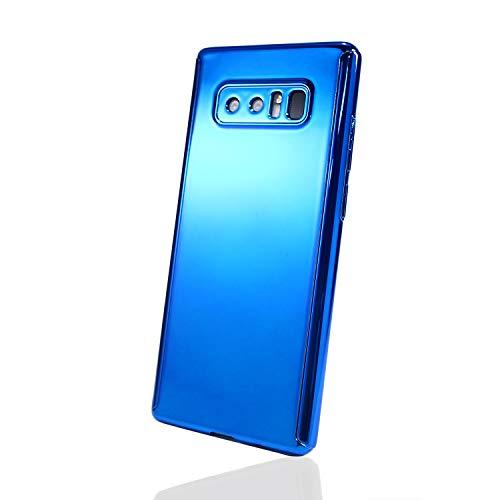平日決めます蜂ホワイトナッツ Galaxy Note8 SC-01K SCV37 全面 360度 保護 メッキ調 ケース ブルー 保護フィルム付き wn-0834756-wy
