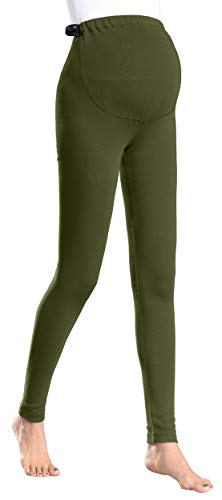 1e26dc175ad01 Foucome Women's Over The Belly Super Soft Support Maternity Leggings Army  Green