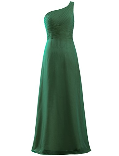 ANTS Women's Pleat Chiffon Long Gown One Shoulder Bridesmaid Dress G010-MFN