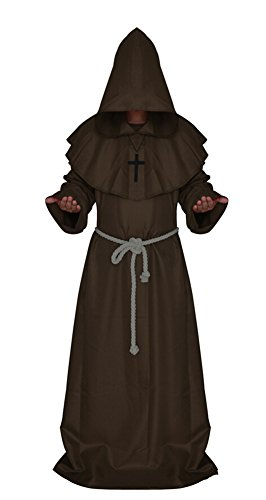 [Medieval Monk Robe Cosplay Halloween Hooded Cape Costume Cloak] (Brown Monk Robe Costume)