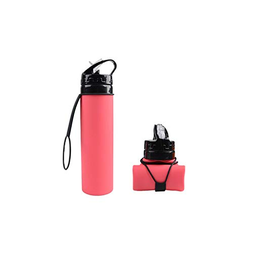 HIGO-BUY Cup Water Bottle 600Ml Portable Motion Squeeze Water Bottle for Sports Camping Hiking Climbing Foldable Silicone Outdoor Drink Gym Sports Kettle,Pink