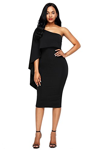 Bdcoco Women's Ruffle One Shoulder Cape Cocktail Party Bodycon Midi Dress Black,Medium - Black Dinner Dress