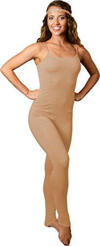 Camisole Unitard (Stretch is Comfort Women's Camisole Unitard Dancewear Gymnastics Catsuit Spaghetti Strap Beige X Large)