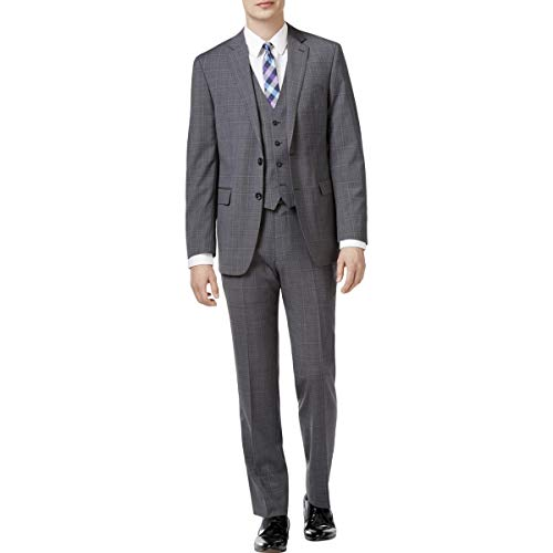 ol Glen Plaid Two-Button Suit Gray 36S ()