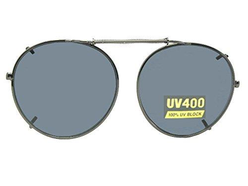 (Semi Round NON Polarized Clipon Sunglasses (Pewter-NON Polarized Gray Lens, 48mm Wide x 46mm Height))