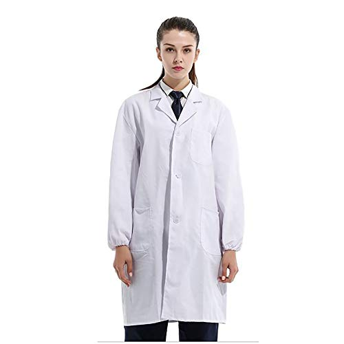 - Hooloopie Professional Unisex Cotton Lab Coat Women Doctor Coat Laboratory Work Clothes 40/41 inch (40 inch with Elastic Cuffs) White