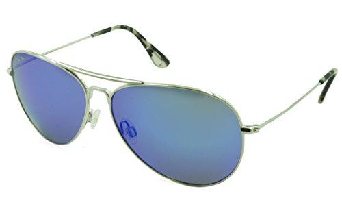 Maui Jim Mavericks B264-17 | Polarized Silver Aviator Frame Sunglasses, Blue Lense, ()