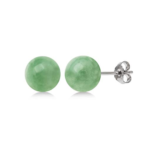 Sterling Silver Natural Green Jade Round Stud Earrings (6mm)