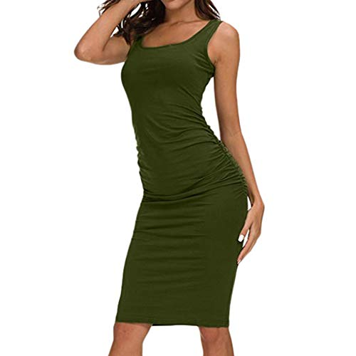 CCOOfhhc Women Dresses for Party Casual Ruched Irregular Bodycon Short Mini Dress Tank Dress Basic Backless Slim Tshirt Dress Green