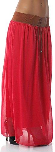 Unbekannt - Falda - Básico - para mujer Rojo