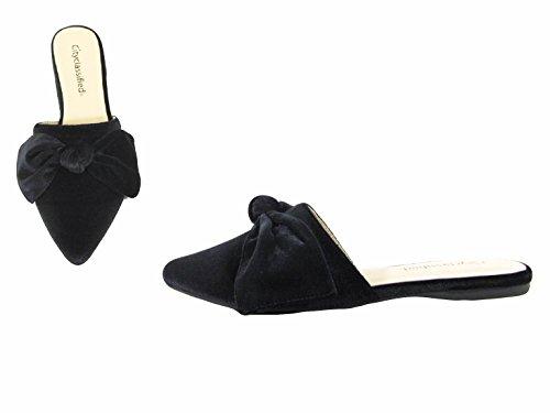 Paprika Damen Goldton Horsebit Hardware Rückenfrei Slip On Loafer Schwarzer Vel