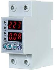 Sunbaca 63A 220V Din Rail ajustável contra sobretensão e subtensão Dispositivo de proteção Relé de proteção contra sobrecarga de corrente Uso doméstico Tela dupla de LED