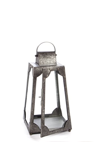 H Potter Decorative Lantern and Rustic Candle Holder Outdoor Indoor Metal Light Centerpiece with Antique Galvanized Finish and Glass Walls Stunning Decor for Home Wedding Parties ()
