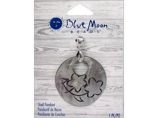 - Blue Moon Beads ZP-001-00086 Round Shell Pendant with Engraved and Flower, Gray