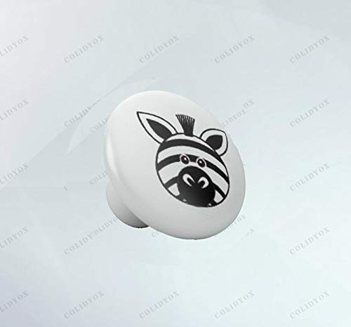 COLIDYOX___Final Touch Personality,Easy to Install,Beautiful Rounded Zebra Ceramic Knob,Creativity by infusing Elements of Nursery Style and Nursery Theme,Kitchen cabinets, wardrobes, and/or Dresser