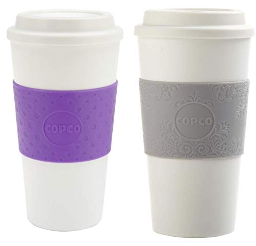Copco Acadia Double Wall Insulated 16 oz Travel To Go Mug with Non-Slip Sleeve, Set of 2, Commuter Friendly, Drink On the Go (Lilac/Damask Gray)
