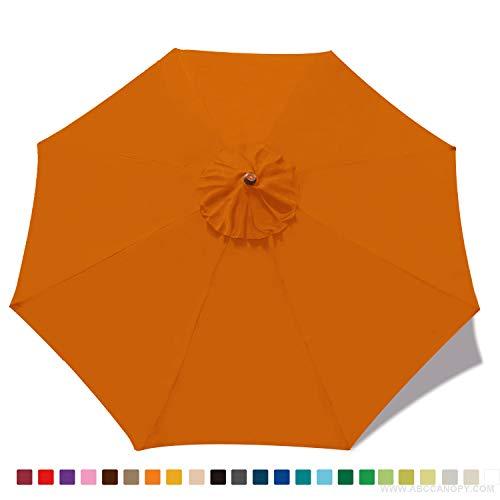 ABCCANOPY 9ft Outdoor Umbrella Replacement Top Patio Umbrella Market Umbrella Replacement Canopy with 8 Ribs(Orange) (Top Umbrellas)