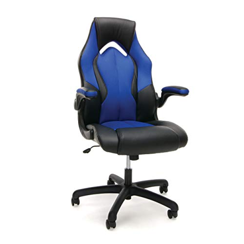 yle Leather Gaming Chair - Ergonomic Swivel Computer, Office or Gaming Chair, Blue (ESS-3086-BLU) ()