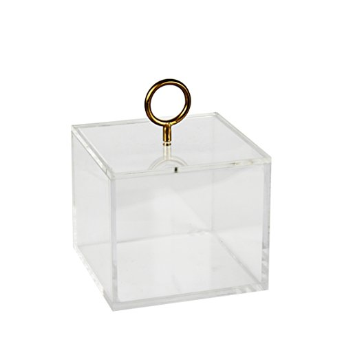 Sagebrook Home 12788-01 Acrylic Storage Box with Circle Decor, 6.25 x 6.25 x 7.5 Inches, Gold by Sagebrook Home (Image #1)
