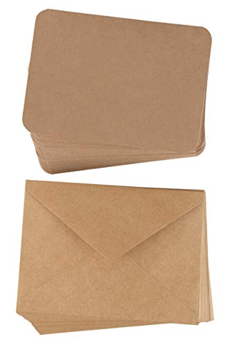 Brown Invitations Business - 48-Pack Blank Greeting Cards - Plain Cardstock Folded Notecard - Rounded Corners, Envelope Included for DIY, Business, Party Invitation, Birthday, Wedding, Brown, 5 x 7 Inches, Laser Printer Friendly