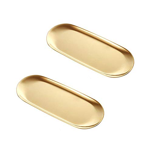 2 Pieces Gold Tray - Towel Tray,Vanity Tray Decorative,Perfect for Perfume,Dessert, Jewelry,Cosmetics (Stainless Steel 9 Inch,Oval)