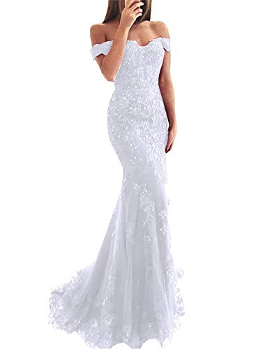YSMei Lace Mermaid Wedding Prom Dresses Off Shoulder Long Formal Party Gown White 02