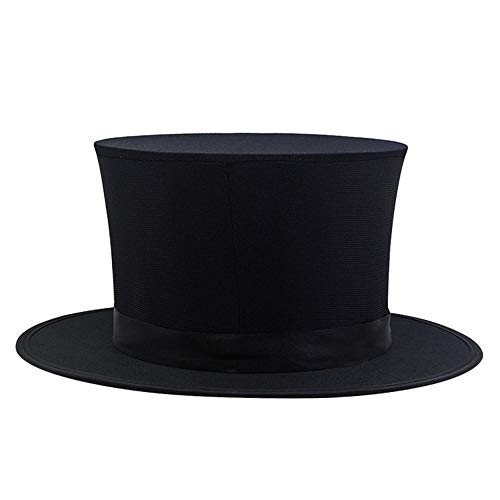 Livoty Magic Toys Flat Mad Hatter Top Hat Traditional President Party Hat Steampunk Magic Hat (Black) -