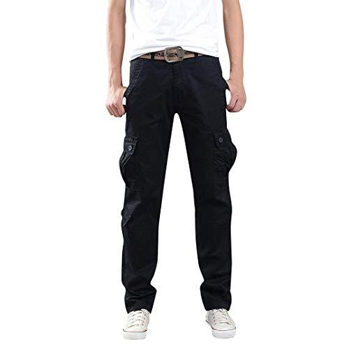 Ejército Pantalones Para Del Carga Holgados Función Cómodas Joven De Ocio Libre Mens Hombres Cintura Aire Negro Trabajo Al wSwrx4t