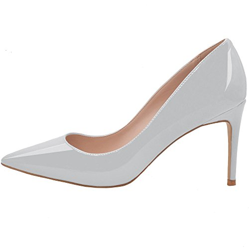 Lovirs Womens Grey Patent Office Basic Slip on Pumps Stiletto Mid-Heel Pointy Toe Shoes for Party Dress 7 M (Pointy Toe Women Dress Pump)