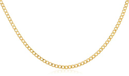 14K Yellow Gold 2.0mm Cuban/Curb Link Chain Necklace- Made in Italy-16-30 (Yellow, 16) (Curb Link Solid Gold Chain 14k)