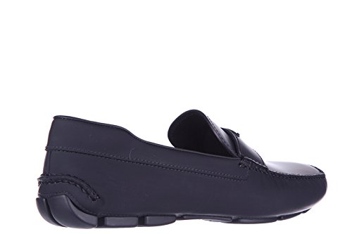 Prada Mens Leather Loafers Moccasins Black p9W5RbxB