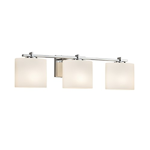 Light Bath Bar Oval Shades - Fusion - Era 3-Light Bath Bar - Oval Artisan Glass Shade in Opal - Polished Chrome Finish