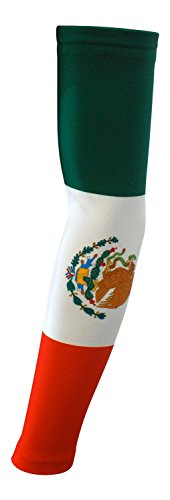 Nexxgen Sports Apparel Moisture Wicking Compression Arm Sleeve (Single) - Men, Women & Youth - 40 Colors - Digital Camo & Elite (Youth Large, Mexico Flag) -