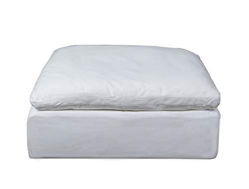 Sunset Trading SU-145830-391081 Cloud Puff Slipcovered Square Modular Performance White Sofa Sectional Ottoman