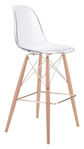 Modern Contemporary Bar Chair, Clear, Plastic ()