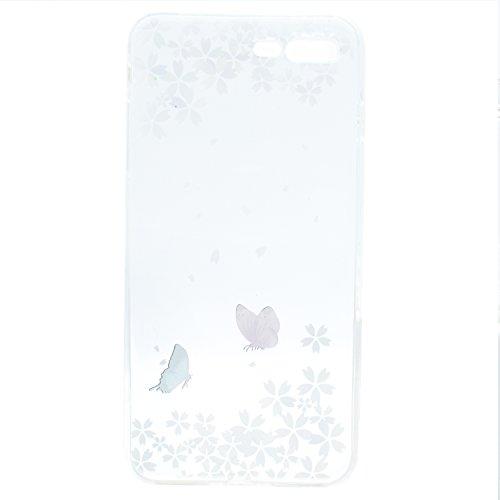 iPhone 8 Plus Coque , Leiai Transparent Mode Couleur Papillon Ultra-mince Clear Silicone Doux TPU Housse Gel Etui Case Cover pour Apple iPhone 8 Plus