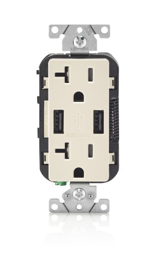 Leviton T5832-T USB Charger/Tamper-Resistant Duplex Receptacle, 20-Amp, Light Almond
