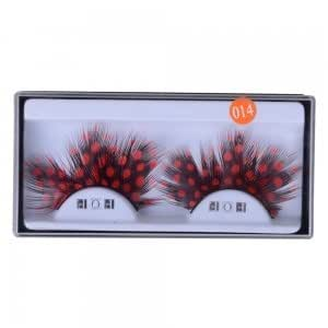 10 Pairs Handmade Feather Red Dots Party Makeup False Eyelashes Coffee