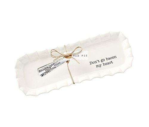 Mozlly Multipack - Mud Pie White Ceramic Bacon Serving Tray Set - Dont Go Bacon My Heart - 4.5 x 12 inch - Includes Silver Plated Tongs - Novelty Serveware (2pc Set) (Pack of 3)
