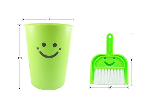 Neon Green Wastebasket Plastic with Dustpan and Brush 1.5 Gallon 9.75 Inches Tall - The Happiest Wastebasket and Dustpan on Earth (3 Piece Set) by Daiso Japan (Image #3)