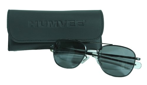 CampCo HUMVEE HMV-52B-BLACKPolarized Bayonette Style Military Sunglasses with Gray Lenses and Black Frame, 52mm