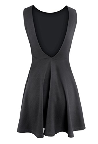 Dress Cocktail Black Women Neck Gal Backless Casual line Round Sleeveless Mini A Wink Wn67Pqg78