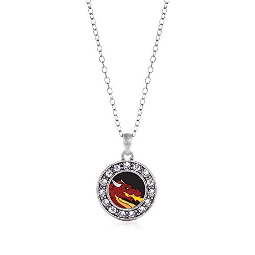 Inspired Silver - Fire Breathing Dragon Charm Necklace for Women - Silver Circle Charm 18 Inch Necklace with Cubic Zirconia Jewelry